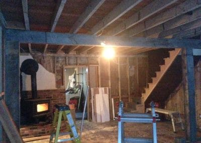 Before: fixing saggy ceiling w/ post & beam
